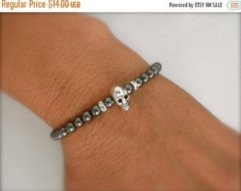 15%OFF Tiny skull bracelet with hematite beads