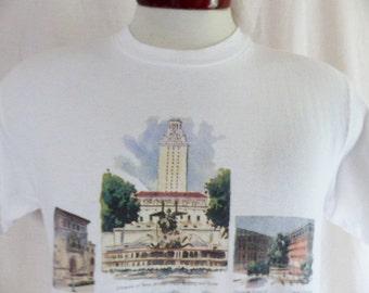 Go UT Longhorns vintage 90's University of Texas at Austin white graphic t-shirt multicolor campus building illustration logo print Medium