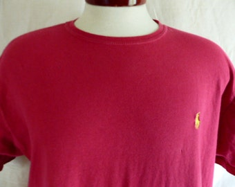 vintage 90s Polo by Ralph Lauren solid faded wine red burgundy crew neck embroidered yellow pony designer logo graphic t-shirt unisex medium