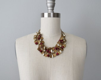 50s triple strand necklace / coin necklace, baroque pearls, cranberry glass beads