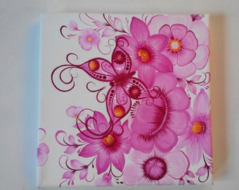 Painting canvas 2. Small painting. Paintings on canvas of the blocks. Pink Butterfly on Flowers. Hand Painted.