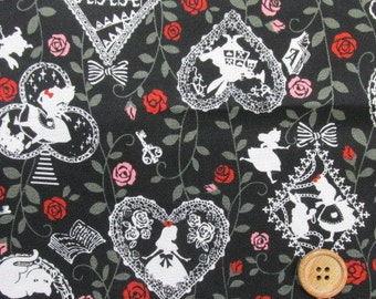Alice in Wonderland and Rose Fabric Black / Japanese Fabric - 110cm x 50cm