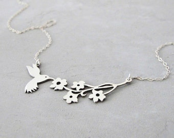 Flower Necklace - Hummingbird necklace - Silver Pendant Necklace - Ready to ship