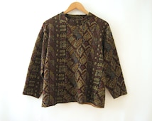 80s Tribal Tapestry Cropped Sweater Top 3/4 Sleeve Oversized Geometric Brocade Bohemian Grunge New Age Hippie Boho Minimalist // L