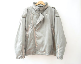 80s Metallic Silver Bomber Jacket Oversized Biker Hip Hop Club Kid Futuristic Rave // L