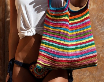 Crochet Multicolor Tote Bag.