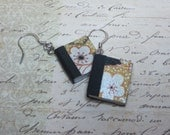 Book Earrings, Miniature Book Earrings, Book Charm Earrings, Black and Gold Floral Earrings, Tiny Book Jewelry, Book Lovers Earrings