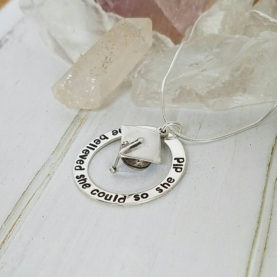 Graduation Necklace, She Believed She Could, Sterling Silver, High School, College Personalized Custom Made Quote & Graduation Cap Necklace