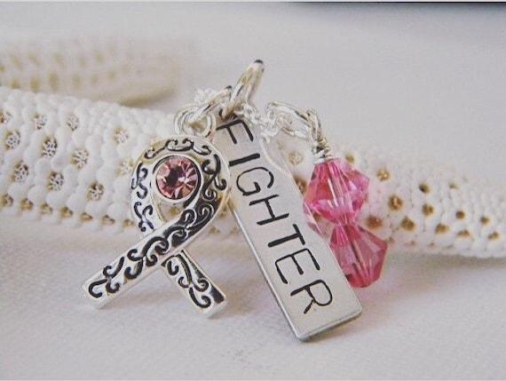 Breast Cancer Awareness Necklace, Custom Fight Cancer Necklace,  Survivor Necklace, Sterling Silver, Pink Warrior, Cancer Fighter Necklace