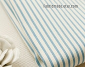Blue Stripe Cotton, White Cotton Fabric Blue Stripes Fabric, Heavy Stretch Cotton for Clothing Craft-  1/2 yard