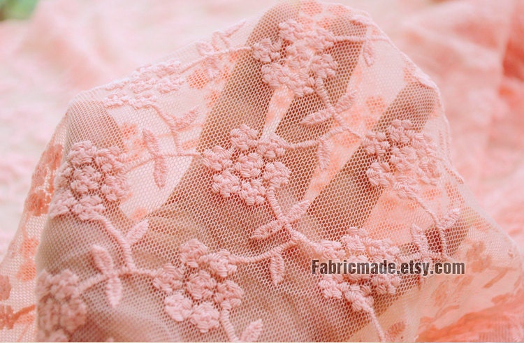 Embroidery Floral Fabric Aqua Green Peach Pink Netting Fabric