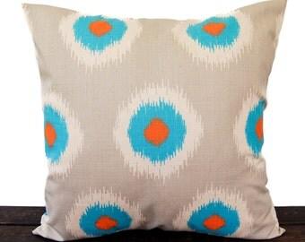 Throw pillow cover Orange Natural Aqua Gray dosset Mandarin Ikat Domino cushion cover pillow sham