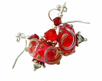 Red lampwork bead earrings with silver scroll accent, Siam red Swarovski Crystals, Sterling Silver