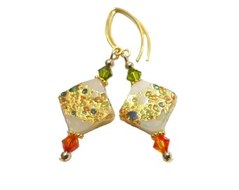 White 24kt gold foil Cluseau Diamond Jeweled Murano Glass earrings, Orange and Olive green Swarovski crystals, Vermeil beads and earwires