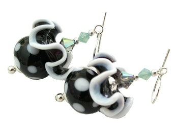 Black and white polkadot bead earrings with black and white trim ruffle glass beads, Black Diamond Swarovski crystals, Sterling silver