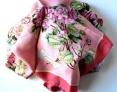 """SALE, Vintage Gucci Pink Floral Silk Scarf, Handrolled hem, 34"""" x 34"""", Made in Italy, gift idea"""
