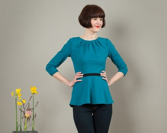 Blouse Coco with small flats in petrol and black