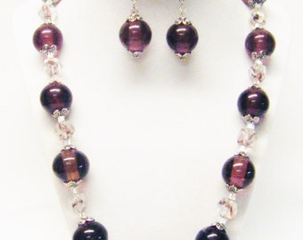 Large Round Purple w/Amethyst Mix Glass Beaded Necklace & Earrings Set