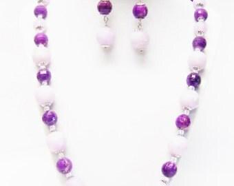 Violet Swirl Faux Bead Necklace & Earrings Set