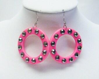 Pink Acrylic Hoops w/Black Rhinestones Earrings