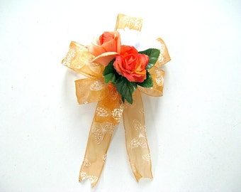 Orange gift wrap bow/ Orange birthday gift bow/ Female gift bow/ Special celebration gift bow/ Gift for females/ Bow for presents (GN115)