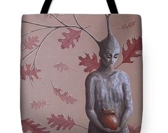 The Acorn Surreal Landscape Tote Bag, Oak Tree Tote Bag, Oak Tree Purse