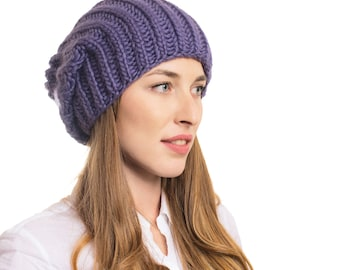 SALE - 40% OFF - Hand-Knit Super Soft Beanie From Luxurious Chunky Merino Wool! Merino Hat Baggy Hat Chunky Knit Beanie Stylish Hat Winter
