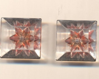 Pair of Square Lucite Buttons with Pink Flowers