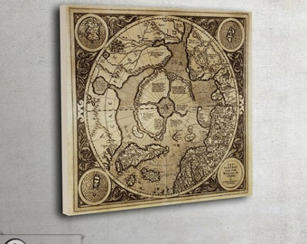 Antique North pole map on canvas. Framed and ready to hang, 054
