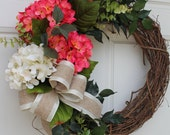 Bright Pink Beige Hydrangea Summer Fall Wreath