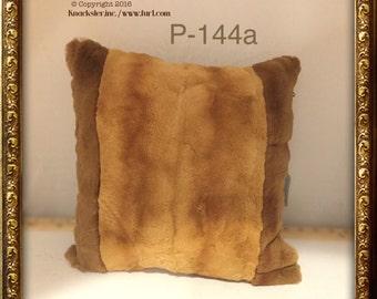 P-144 Genuine Red Orange Sheared Mink Fur Pillow 14 x 14