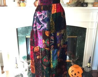 60s Novelty Velvet Patchwork Hostess Skirt
