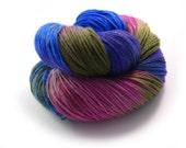 Yarn - Hand painted Sock yarn Merino - Sock Yarn Fingering -  blue, navy, lilac, pink - knitting socks  shawl - hand dyed yarn - OOAK