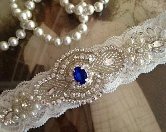 Garter-Wedding Garter-bridal garter-garter belt-Ivory Lace-blue garter-blue -vintage-stretch lace-Garter-Prom-keepsake garter-rhinestone