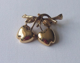 Vintage Gold-tone Cherry Brooch