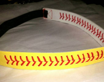 Authentic Leather Softball Stitch Headband -Yellow with Red seam stitch