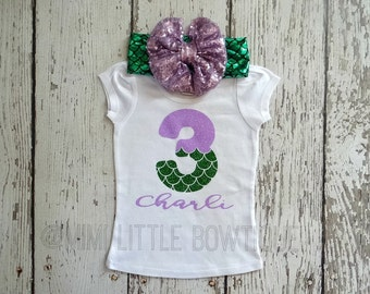 Personalized Mermaid themed third Birthday outfit- 3rd Birthday Outfit- Mermaid Birthday Outfit