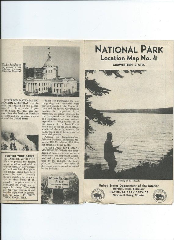 Vtg 1950 National Park Locataion Map No 4 Us Dept Of Interior