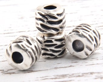 Chunky Weight Ribbed Bead Spacer  with Large Hole, Antique Silver Plated, 12x9mm, 4 pcs //  SB-080