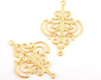 Gold Plated Chandelier Fretwork Connector, 2 piece - Jewelry Supplies // GPC-301