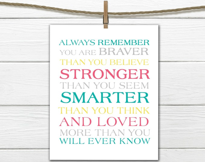 Always remember...You Are Braver Print
