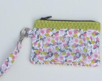 Zippered Wristlet, ID Pocket Wristlet, Green, White and Pink Wristlet, Cherry Wristlet