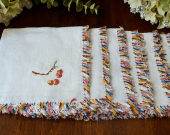 Vintage Luncheon Napkins, Set of Six,  Multi Colored Fringed Border  3427