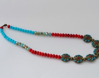 Brushed Brass, Teal and Red Necklace