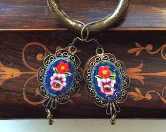 Italian Hand Made Micro Mosaic Pierced Earrings with Brass Filigree