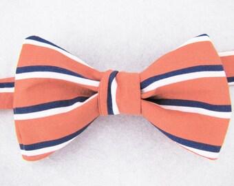 Men's Freestyle Bowtie - Coral & Navy Sailor Stripe