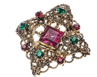 Vintage Antique Czecho Slovakia Red Green Rhinestone Filigree Brooch Pin Signed