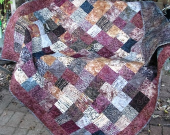 Quilt - Lap Quilt, Sofa Quilt, Quilted Throw - Hearth and Home Batik Quilt