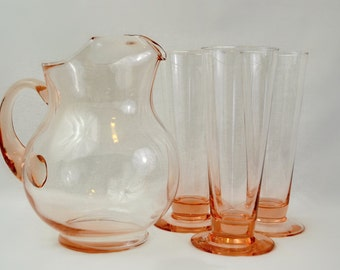 Vintage Pink Glass Pitcher and Glass Set - Ice Tea Pitcher and Glasses