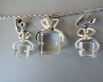 1950s lucite ice cube with tongs necklace and earring set